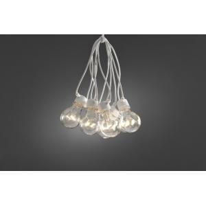 LED feestverlichting met heldere lampen en wit snoer